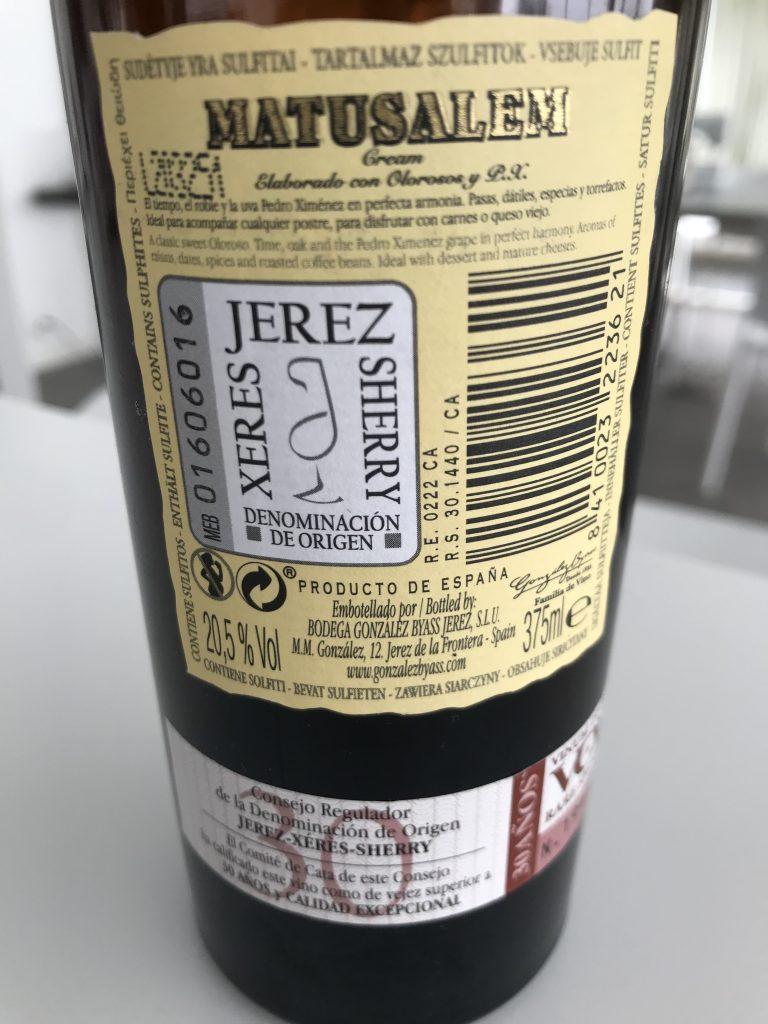 Matusalem Sherry back label